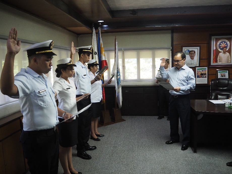 New probationary ensigns take their oath of office