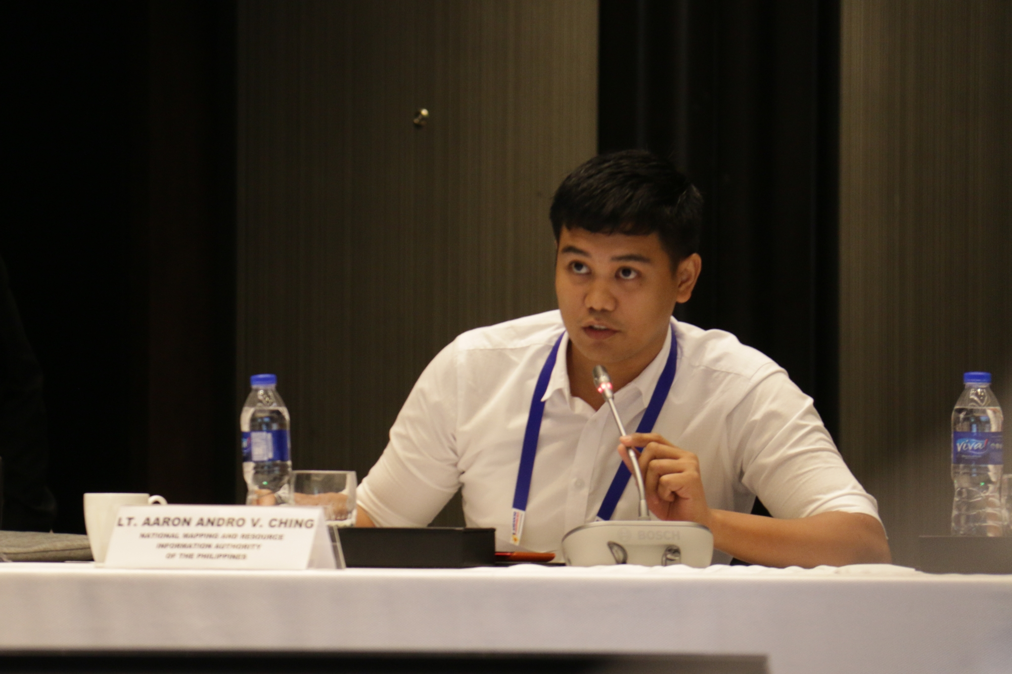 Lt Aaron Andro Ching of Hydrography Branch discuss during the ASEAN Regional Forum Workshop on Best Practices in Implementing Safety of Navigation Instruments