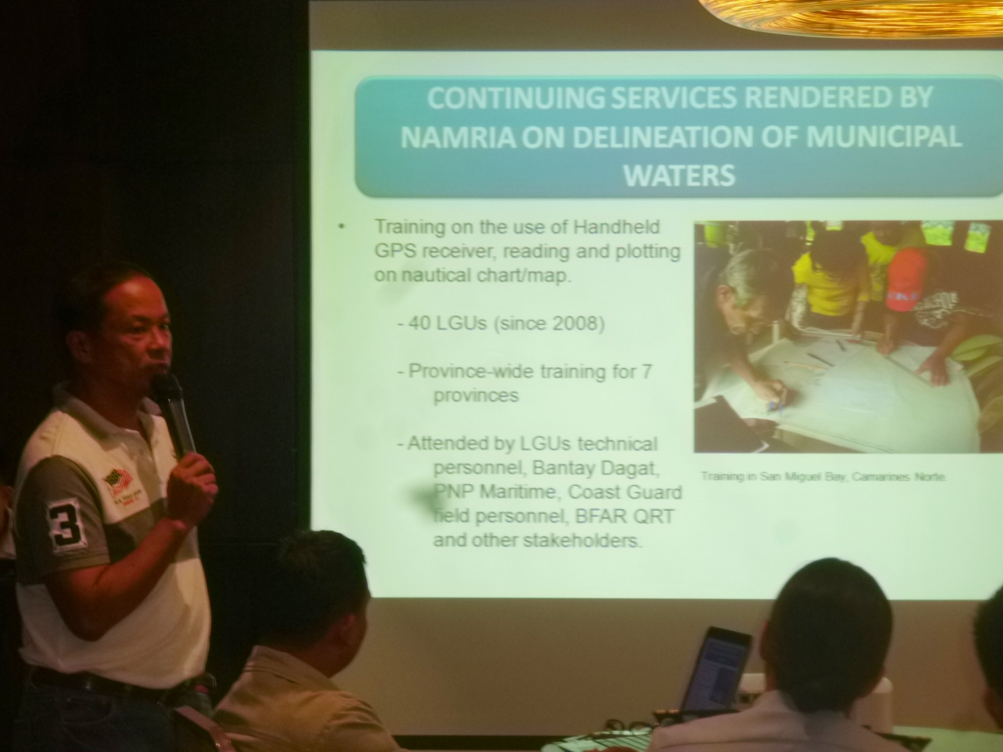 Engr. Mario Princer reports on the status of municipal water delineation.